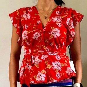 NWT!  Lovers and Friends Floral Wrap Blouse Sz XS